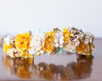 Fall Flower Crown - Yellow Rustic Halo - Flowergirl hairpiece - Summer Wedding - Newborn Photo Prop - Wedding Crown - Floral Hairpiece
