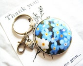 Thank you gift. Forget me not fabric button keyring bag charm with thank you charm, swivel clasp, keyring fob. Teacher gift.