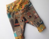 Organic baby leggings/ tribal/ teepee cuff newborn leggings