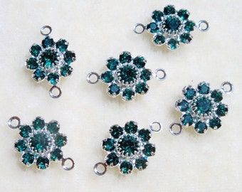 Swarovski Crystal Flower Jewelry Links Emerald Green Connectors
