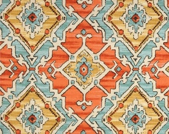 Two 26 x 26  Designer Decorative Pillow Covers Euro - Large Ikat Diamond Geometric - Tangerine Orange/Aqua/Gold/Grey