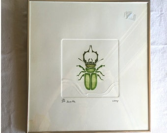 "Beetle print by Cecy 32/250 embossed art print insect nature Peruvian artist Cecilia ""Cecy"" Davila 1945-"