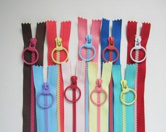 bright contrast fun coloured zip with large ring pull multicolour - 15cm, 20cm, 30cm, 40cm