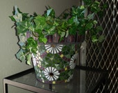 White Sunflower Glass Mosaic Planter with Purple Accent Border
