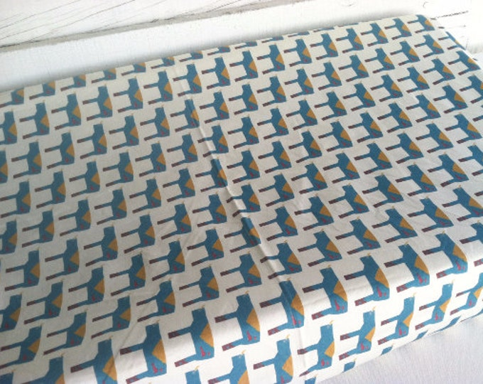 Organic Baby Bedding, Crib Sheet, Changing Pad Cover - Teal Rhino Herd