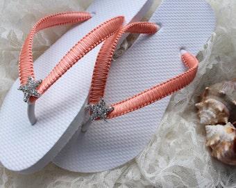 Choose ribbon color white flip flops CUSTOM Bridesmaid gift, Bridal Party, Wedding party, Bridal shower, retirement gift, starfish macrame