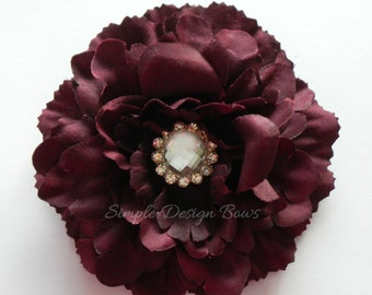 "Burgundy Hair Flower - 4"" AVERY FLOWER - Hair Clip or Brooch - Burgundy Flower Clip - Bridesmaid Hair Flower - Rhinestone Center"