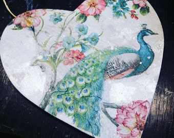 Hanging Heart plaques, hand painted mixed medium