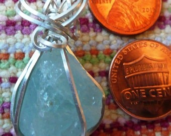 Sterling Silver Wire Wrapped Aquamarine Pendant