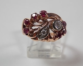 1940s Rose Gold Ruby and Diamond Ring 1.30Ctw 5.5gm Size 6 Art Nouveau Design Engagement or Wedding Ring