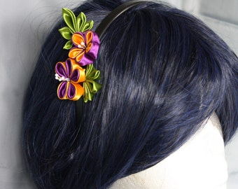 head-band kanzashi - purple flower-