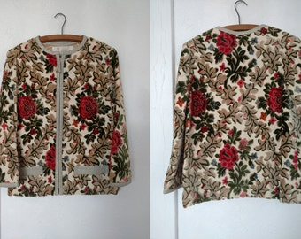 Small 1960s Chenille Carpet Coat Jacket with Leather Trim Zip Front Cropped Boxy