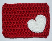 Crochet Heart Coffee Cup Cozy Red and White Reusable Coffee Mug Sleeve Customizable