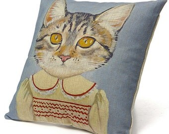 Cats In Clothes Pillow Cover - Margaret - Painting by Heather Mattoon