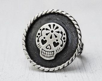Sterling Silver Sugar Skull Ring - Day of The Dead - Dia De Los Muertos - Unique Ring - Statement Ring - Halloween - Gothic - Memento Mori