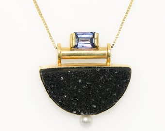 Dazzling Tanzanite, Black Onyx Druzy and Pearl Pendant in 14K Gold Fine Handmade Jewelry Sparkling Druzy and Tanzanite Art Deco Necklace
