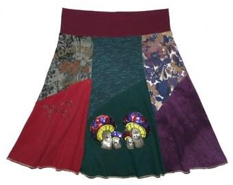 Boho Hippie Skirt Women's Medium Large upcycled t-shirt clothing from Twinkle