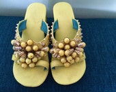 Vintage 60s Beaded Sandals Shoes Rockabilly Hawaiian Luau Tiki Oasis Mod Mad Men Style Party Slides Mules Yellow Chunky Heel 1960s Size 7