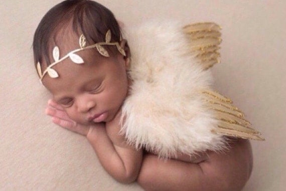 Tan Feather Baby Angel Wings with Gold Glitter Trim AND / OR Matching Gold Leaf Headband, foto, infant, Lil Miss Sweet Pea