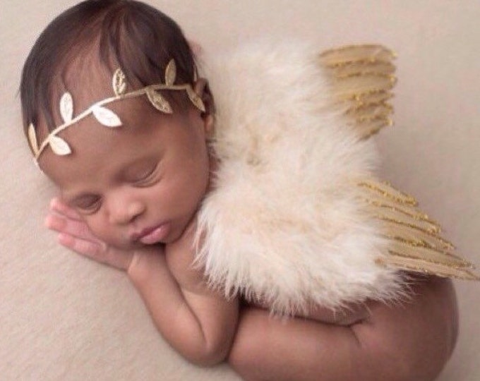Featured listing image: Tan Feather Baby Angel Wings with Gold Glitter Trim AND / OR Matching Gold Leaf Headband, foto, infant, Lil Miss Sweet Pea