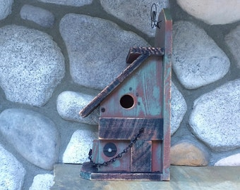 Rustic Wooden Birdhouses, Functional Bird House For Birds, Sage Green & Dark Walnut, Fence Mount, Item #490569888
