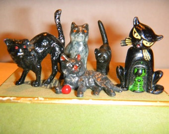 Vintage miniature black cat figurines.Fun for Halloween! Or anytime!:) HTF cat with goblet wine charm