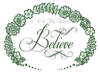 "SALE 5x7 FUSIBLE Fabric Patch ""Believe"" Christian Word Art, Green Iron-on Fabric Block for Pillow Art, Home Decor, Christian Gift FB-785"