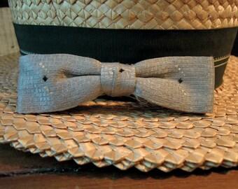 Vintage Men's Grey Slim Bow Tie / Black Diamonds / Professor's Tie / Vintage Bowties / 1950's / Clip on Bow Tie