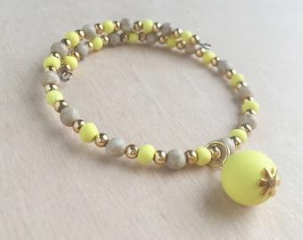 Yellow Wire Wrap Bracelet