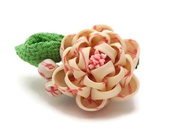 White Pink Peony Hair clip Brooch/ Kanzashi Inspired/ Peony Brooch/ Peony Corsage/ Upcycled Kimono/ Fabric Flower/ Gift Ideas/ OOAK