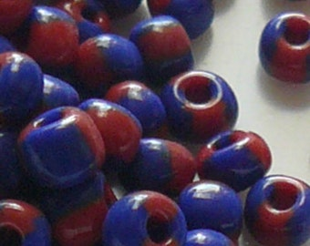 6/0 Red & Blue Seep Beads Item #SM60A