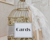 ONE OF A Kind / Ready to Ship / Champagne Gold Wedding Birdcage Card Holder / Wedding Card Box / Lace Wedding Card Holder / Wedding Decor