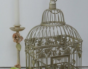 15% OFF SALE Small Champagne Gold Wedding Birdcage Card Holder / Gold Birdcage / Wedding Card Box / DIY Wedding / Wedding Supplies