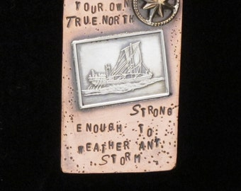 True North Storm Sailing Inspirational Pendant Necklace Sterling Silver Handmade Kava Creations