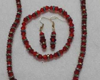 RED CRYSTAL Necklace Set