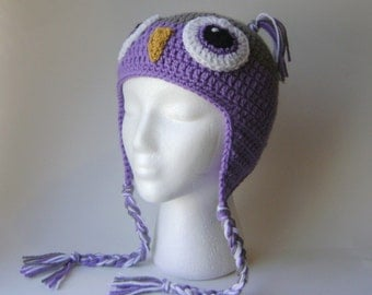 Women's Owl Hat, Crocheted Earflap Beanie Gray and Purple, Adult Size
