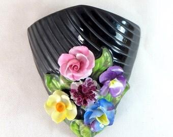 Art Deco SylvaC Vase, Vintage Handpainted Applied Flower Glossy Black Glazed Pottery Wall Pocket Posy Vase 1950s
