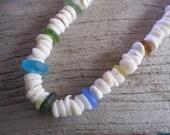 Molokai puka shell necklace, sea glass necklace with puka shells, thick puka shell necklace, Hawaiian puka shell jewelry