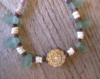 beach necklace, shell necklace, hawaiian jewelry, tropical necklace, seashell necklace, sea glass jewelry, beach wedding