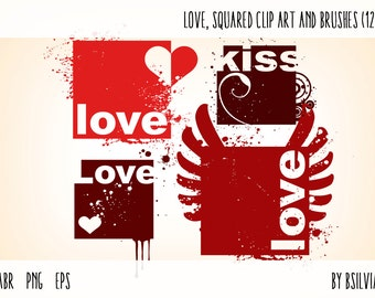 Love Photoshop brushes and transparent PNG digital stamps, love - squared clip art, Love Word art PNG files, Love Word art Vector Files