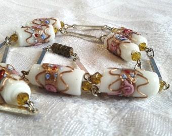 Vintage White Wedding Cake Bead Necklace, 30s Era. Venetian, Murano.