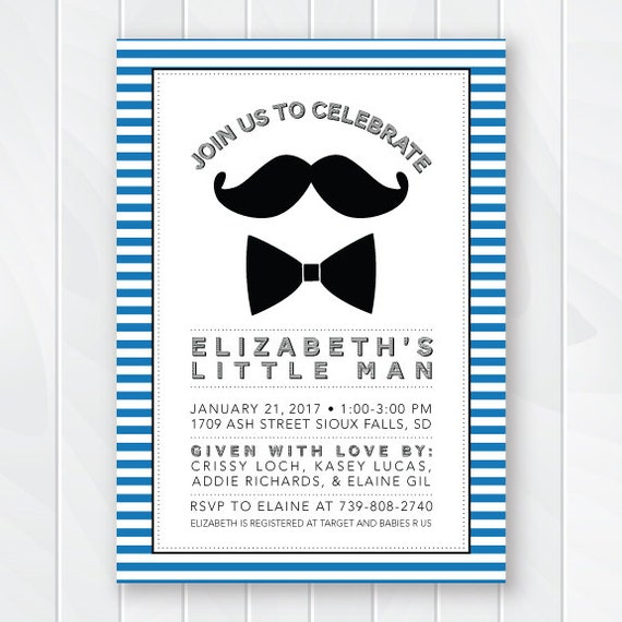 mustache and bow tie baby shower invitation retro baby shower