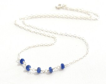 Blue Sapphire Necklace, Tiny Blue stone Necklace, September Birthstone Jewelry, Minimalist, Gift For Her, Blue Sapphire Silver Necklace