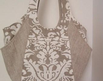 Elegant Linen Shoulder Bag, Ecru and Natural Purse, Multi-Pocket Handbag, Decorator Fabric Tote Bag, Shoulder Bag, Magnetic Close Handbag