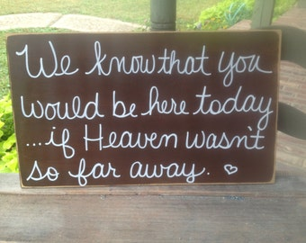Distressed Brown and White Wedding Memorial Sign, Wooden Heaven Too Far Away Sign, Brown Wedding Signs