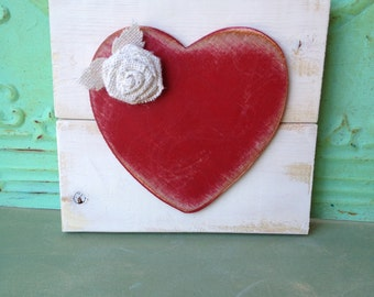 Red and Ivory Heart Hanger, Valentines Day Decor Heart, Gallery Wall Heart Hanger, Accent Sign