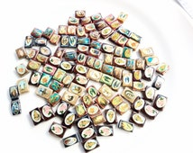 religious saint images sliding wood beads salvaged recycled lot over 100 pieces pcs  lot R109