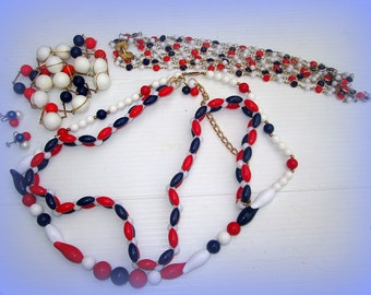 Retro Red White and Blue Patriotic Jewelry Lot Hippie Era Fourth of July Necklaces Earrings Belt United Kingdom Colors