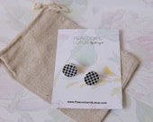 Cute as a Button - Round black & white pattern wood stud earrings