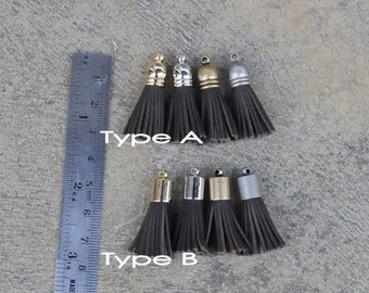 4 Chocolate Brown Mini 8mm Cowhide Leather TASSELS in Gold, Silver, Antique Silver or Antique Brass Plated Cap(Type A or B Cap)